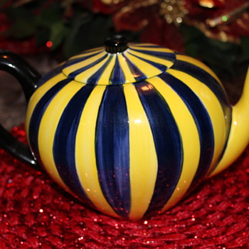 Cirque du Soleil Tea Pot Yellow and Blue Color Cirque du Soleil - Art Pottery