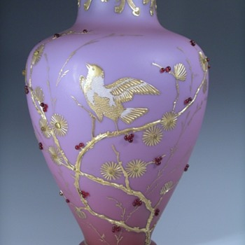 Early Loetz Alpenrot Enamelled Jewelled Vase, Ca 1893