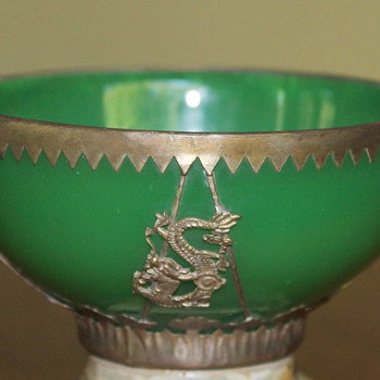 Glass bowl with silvered metal mount