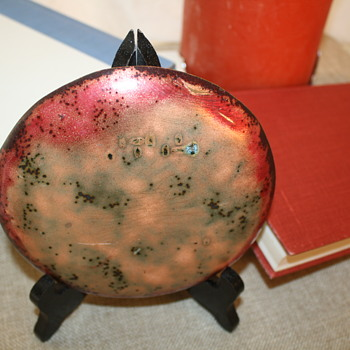 "Enamel on Copper Melted Marble 6"" Plate"