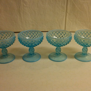 SET OF 4 FENTON BLUE OPALESCENT HOBNAIL SHERBET GLASSES