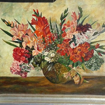 "Floral Still Life Signed ""A. Kirsten"" /Oil On Canvas 28""x 36"" Framed/ Circa 1940 - Fine Art"