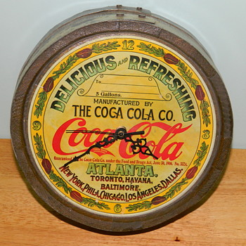 Coca Cola Vintage Syrup Barrel Top - made into a clock... - Coca-Cola