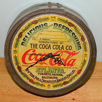 Coca Cola Vintage Syrup Barrel Top - made into a clock...