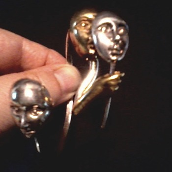"Sergio Bustamonte Silver and 22 kt Gold Vermeil ""Masquerade"" Bracelet / Circa 20th Century"