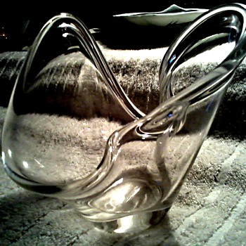 "Small Free Form ""Splash"" Clear Glass Bowl / Labeled Weston W. Virginia / Unknown Age"