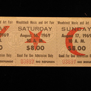 Vintage 1969 Woodstock 3-Day Pass - Music Memorabilia
