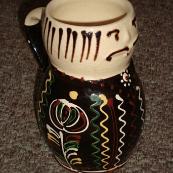 Interesting old quirky tankard with applied enamel, French?  - Art Pottery