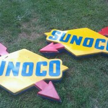 Sunoco Gas Station Signs Huge 4 Ft. Nascar Vintage Light - Signs