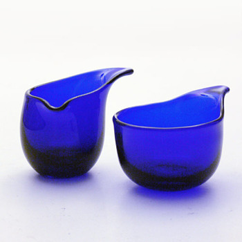 VIPSTJERT creamer andsugar-bowl set, Per Ltken (Holmegaard, 1950) - Art Glass