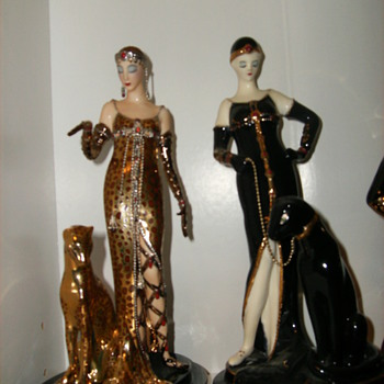 two ladies, one house of erte franklin mint ocelot and one flapper lady with panther - Art Pottery
