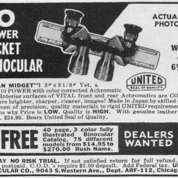 1953 - United Pocket Binoculars Advertisement - Advertising