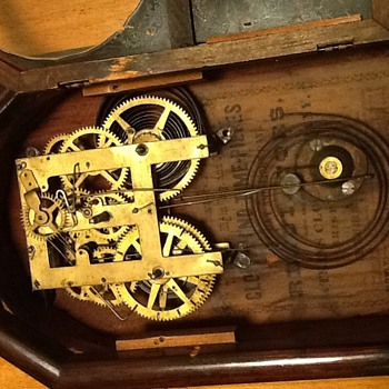 Inside of 8 Day Atkins Clock Co. 1850s mantel clock - Clocks