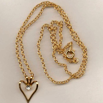 Heart & Zirconia Necklace - Costume Jewelry
