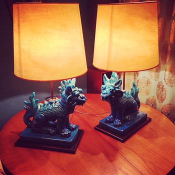 amazing oriental fu dog pottery lamps