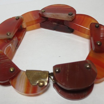 Antique Carved Agate Flexible Bracelet