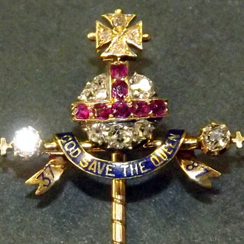 Queen Victoria's 1887 Golden Jubilee Diamond & Ruby Orb & Scepter stick pin.   - Advertising