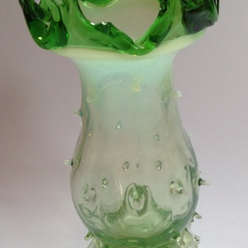 Victorian glass thorn vase with applied leafy top & feet - Art Glass