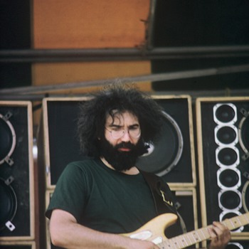 jerry at watkins glen with his alligator guitar.the one gram nasn gave him. - Photographs