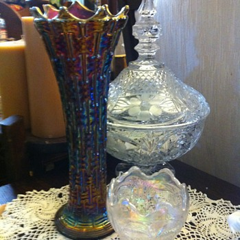 carnival glass?..blown glass ashtray