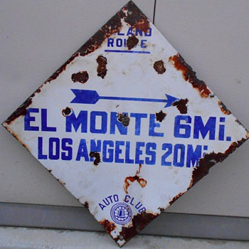 1913-1929 auto club blue diamond directional signs - Signs