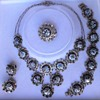 Vintage 1940s Persian Hand-painted Enamel and Silver Necklace Bracelet Earrings Brooch Pin full Parure