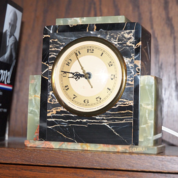1925-30 Skyscraper Whitehall-Hammond Onyx and Marble clock - Art Deco