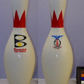 "Brunswick Red Crown, ""B"" Medallion Bowling Pin"