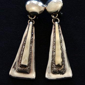 Pair of long statement 925 silver and gold earrings.