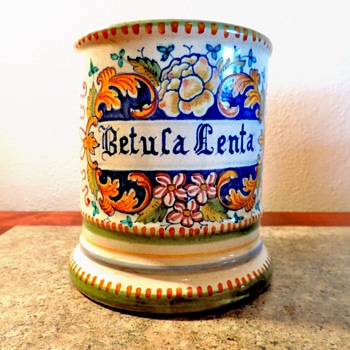 Italian pottery Peasant Village container beautifully hand painted - Art Pottery