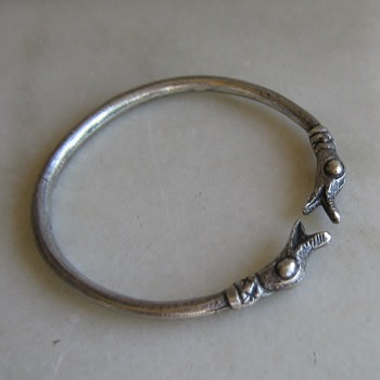 Pewter dragon or duck head bangle bracelet - Fine Jewelry
