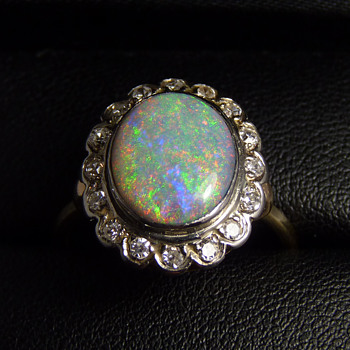 Diamond & Dark Crystal Opal Ring - pinfire colours against a dark body tone - Fine Jewelry