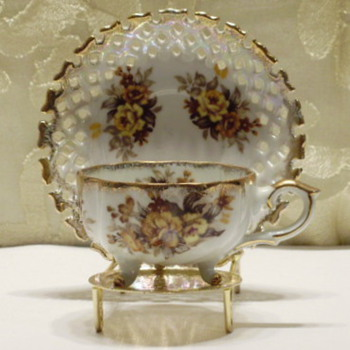 Small 3-Footed Cup & Saucer - China and Dinnerware