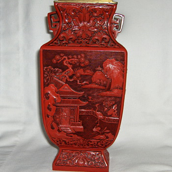Vintage 20th Chinese Carved Cinnabar Vase 4 Sided 4 Designs  9.5in