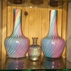 Early Loetz Rainbow Applied Gold Mica Enamelled Ribbed Cased Cabinet Vase
