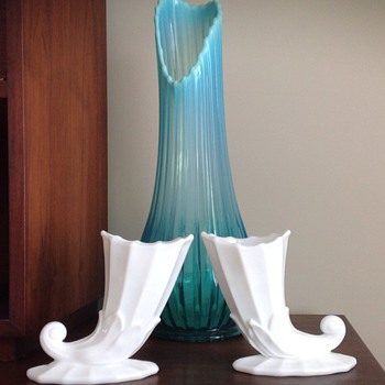 Milk Glass horn shaped vases - Glassware