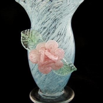 Applied Glass Tornado Style Splatter Glass Vase.  Stevens Williams?