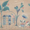 "Early Wallpaper ""Painting"" Woodblock Print 19th Century collection Jim Linderman"