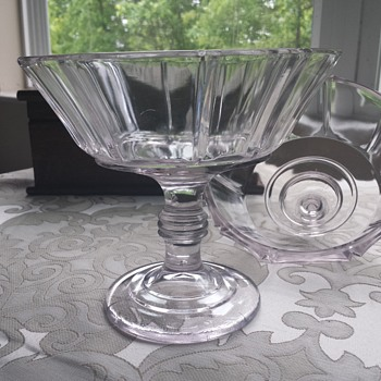 Beautiful Lavender Pressed Glass Covered Compote