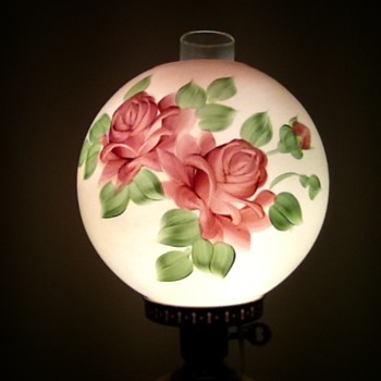 Antique Hand Painted Rose Parlor Lamp - Lamps