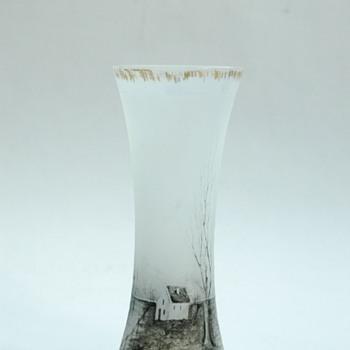 """rare DAUM FRERES miniature scenic vase of """"grisailles"""" series circa 1893"""