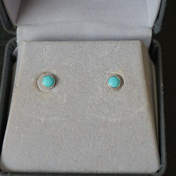 Turquoise & Silver Stud Earrings