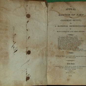 "1818 ""An Appeal To Matter Of Fact And Common Sense"" By John Fletcher"