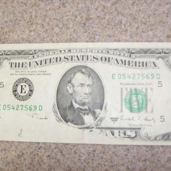My Odd Five Dollar Bill - US Paper Money