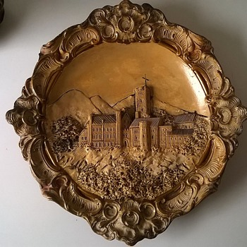 Antique (?) Josef-Strnact Austria Majolica Ceramic Wall Plaque Wartburg Castle, Germany