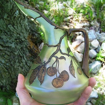 Beautiful Iridescent Czech Glass Jug with Hand Painted Cherries - Art Glass