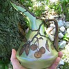 Beautiful Iridescent Czech Glass Jug with Hand Painted Cherries