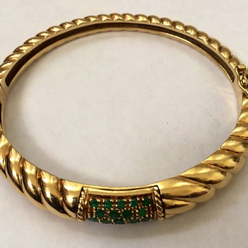Gold Bangle Bracelet With Emeralds