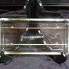 Square Glass Condiment Relish Dish on Metal Tray