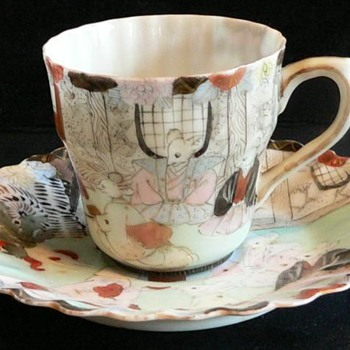 Cup and Saucer - Rare Japanese Kutani Porcelain  - Mouse's Wedding - Fairy Tale - Asian